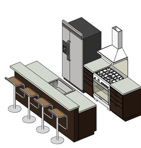 Kitchen Island With Seating For Small Kitchen by Revitcity Com Object Small Kitchen Revit 2011