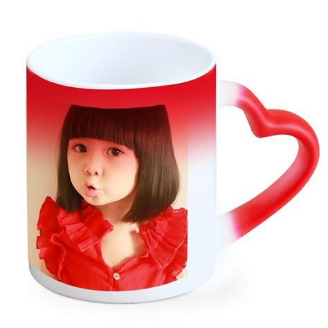 Housewarming Gift Ideas For Couple Customized Heart Handle Photo Magic Mug Giftsmate