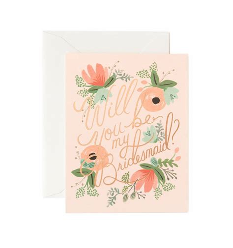 Wedding Congratulations Bridesmaid by Blushing Bridesmaid Greeting Card By Rifle Paper Co