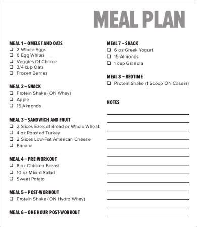 bodybuilding template 28 meal plan templates free premium templates