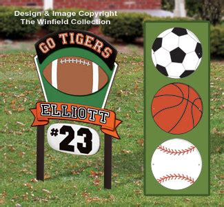 Outdoor Sign Wood Patterns Multi Sport Personalized Sign Plan Football Yard Sign Template