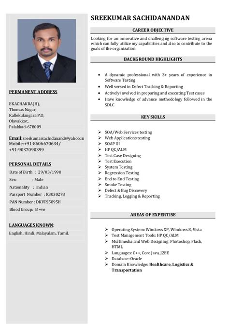 Software Tester Resume by Sreekumar Software Tester Resume