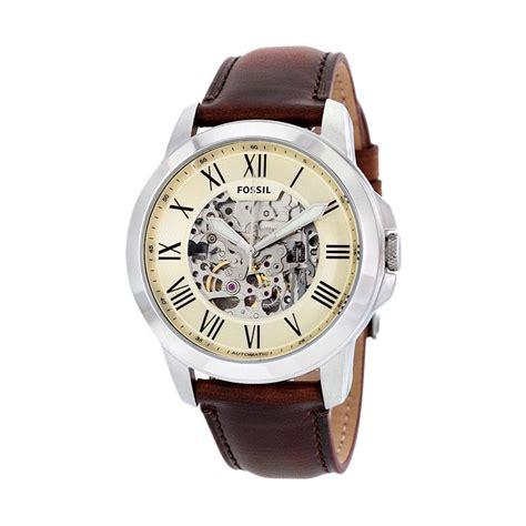 Jam Fossil Grant Beige Brown Leather Fs5152 jual fossil me3099 grant automatic skeleton jam tangan pria brown harga