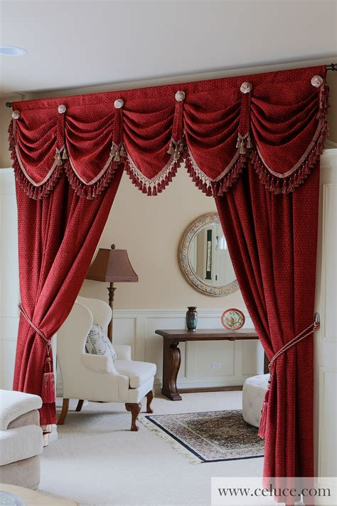 drapes and swags red chenille austrian diamond swag valance curtain