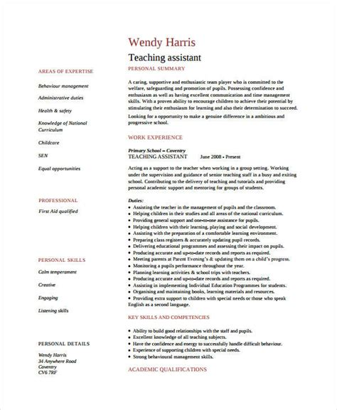 teacher assistant resume 9 free pdf document download