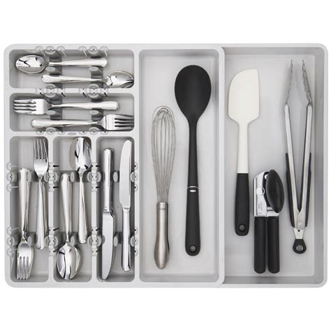 oxo expandable drawer organizer in kitchen drawer organizers