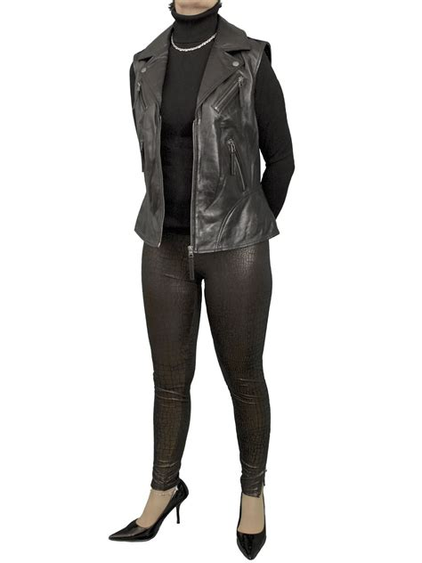 leather waistcoat biker womens leather gilet waistcoat tout ensemble