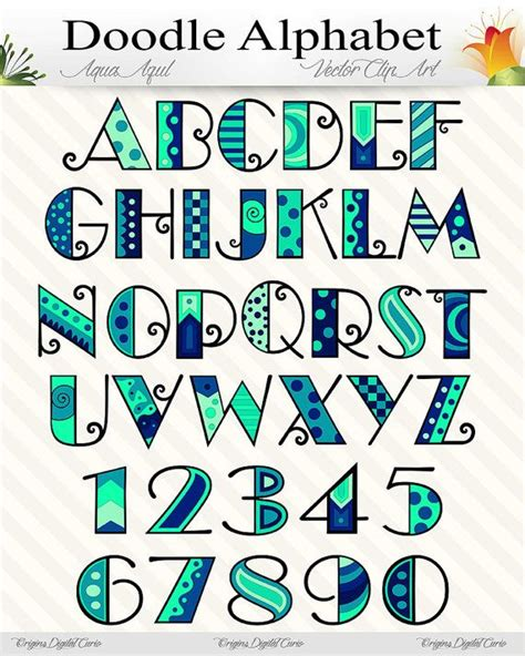 doodle alphabet aqua azul doodle alphabet blue numbers letters png and