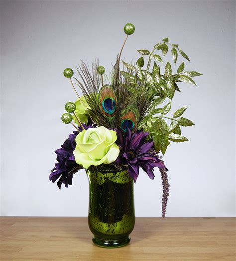 flower arrangements home decor new reversible purple green peacock feather floral arrangement table home decor ebay