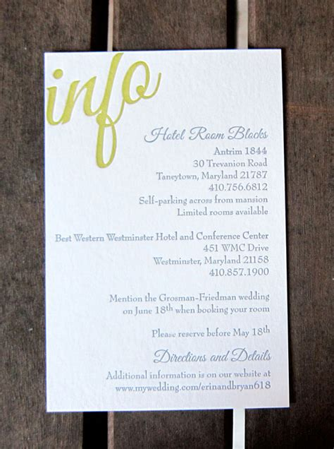 Wedding Invitation Info Card typography wedding invitations