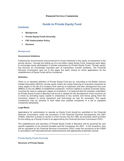 Equity Commitment Letter Definition Guide To Equity Fund Doc