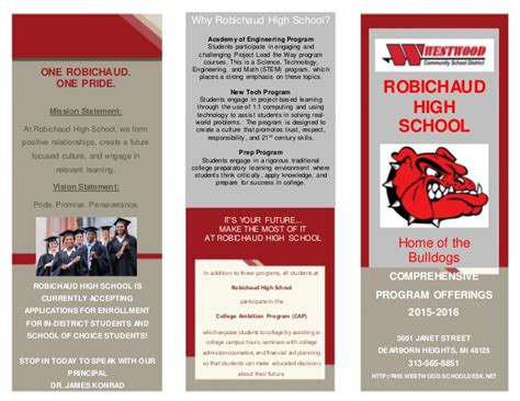robichaud high school brochure final 5 21 15
