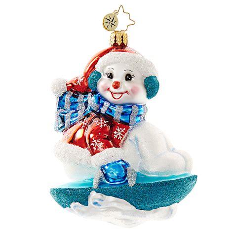 christopher radko ornaments christopher radko snowy saucer snowman on sled ornament