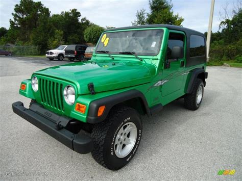 blue green jeep 2004 electric lime green pearl jeep wrangler sport 4x4