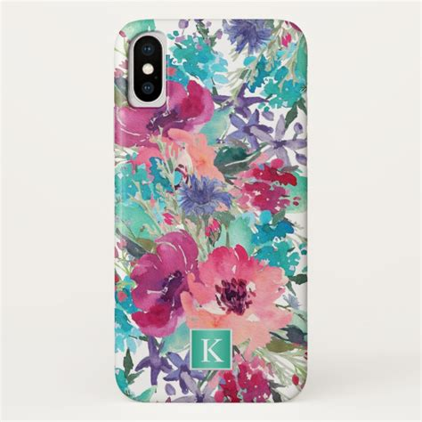Iphone X Supreme Floral Pattern Hardcase trendy watercolor floral pattern with monogram iphone x plus