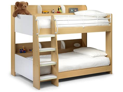 Maple Finish White Childrens Kids Bunk Bed Frame Childrens Single Bed Frame