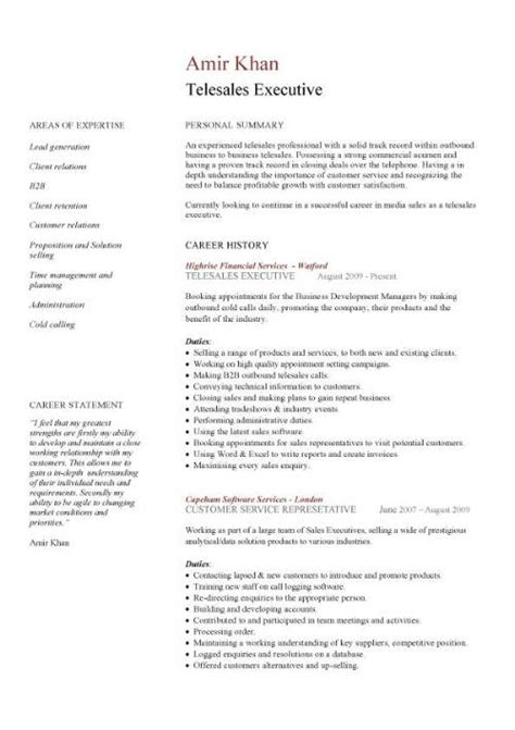 telesales cv template sales cv template purchase