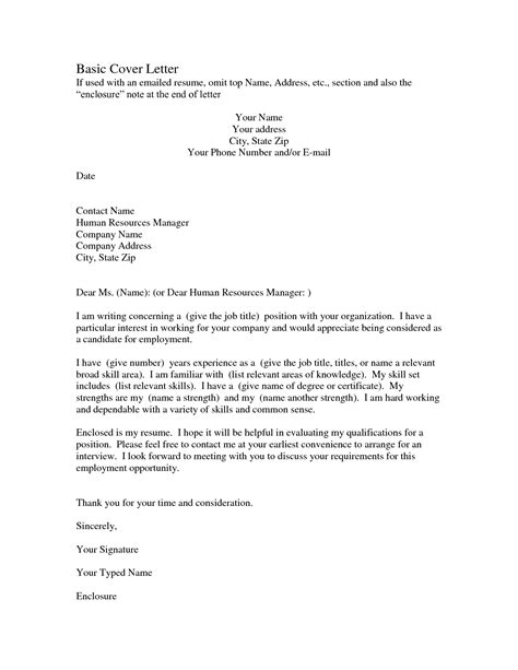 simple resume cover letters basic sle cover letter the best letter sle