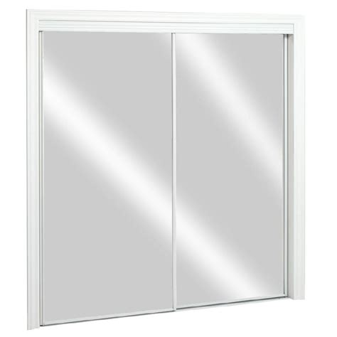 Sliding Glass Closet Doors Lowes Shop Reliabilt Flush Mirror Sliding Closet Interior Door Common 48 In X 80 In Actual 48 In X