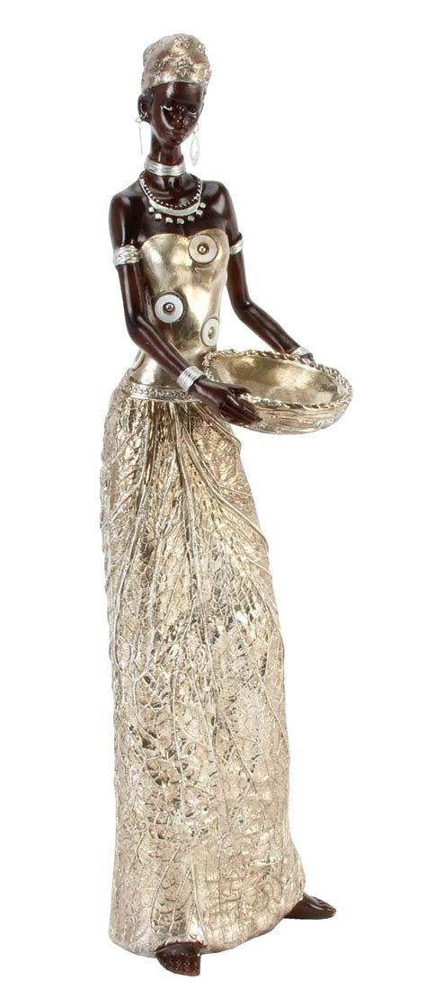 golden gold leaf african masai lady figurine gift ornament