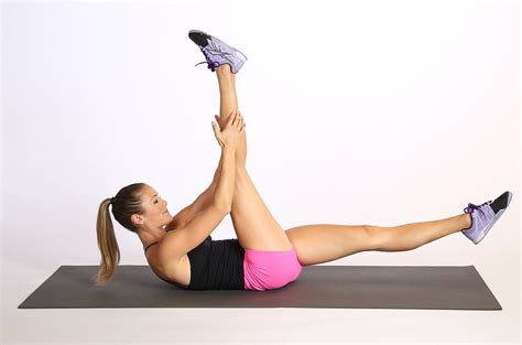 abdominal exercise feet anchored one pilates scissors crunch variations popsugar fitness