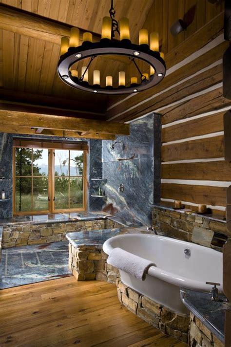 log cabin bathroom slate shower in log cabin