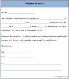 Resignation notice form sample resignation notice form sample forms