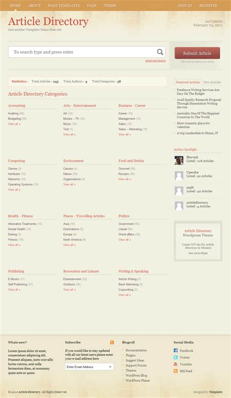 wordpress templates for articles article directory wordpress theme