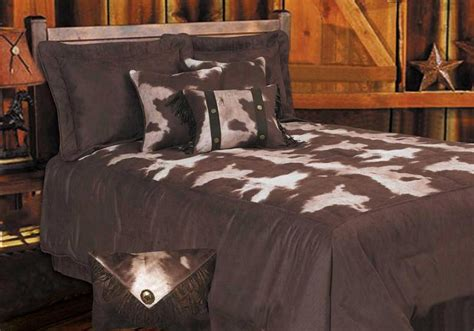 cowhide microfiber bedding rustic comforter set lodge