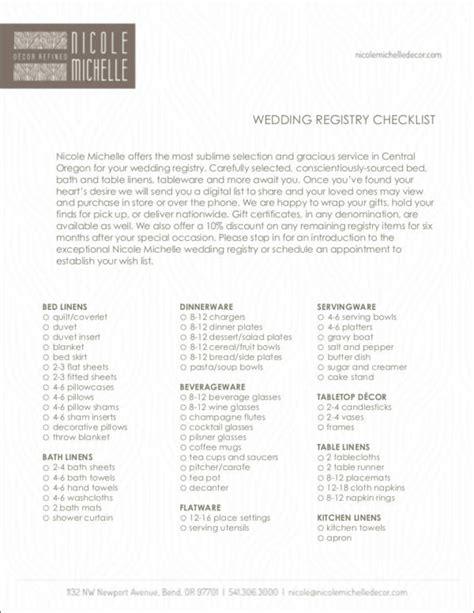 Wedding Registry Checklist Pdf by Wedding Registry Checklists Free Sles In Pdf