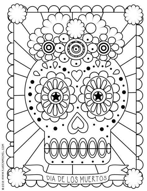coloring pages for dia de los muertos dia de los muertos coloring sheet karen michel