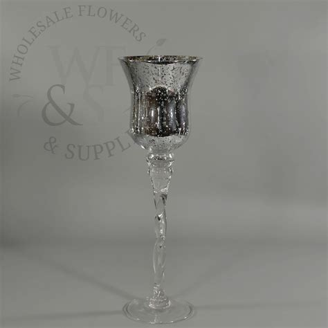 Silver Mercury Glass Vases Wholesale by Silver Mercury Glass Vase Candle Holder Twisted Stand 13