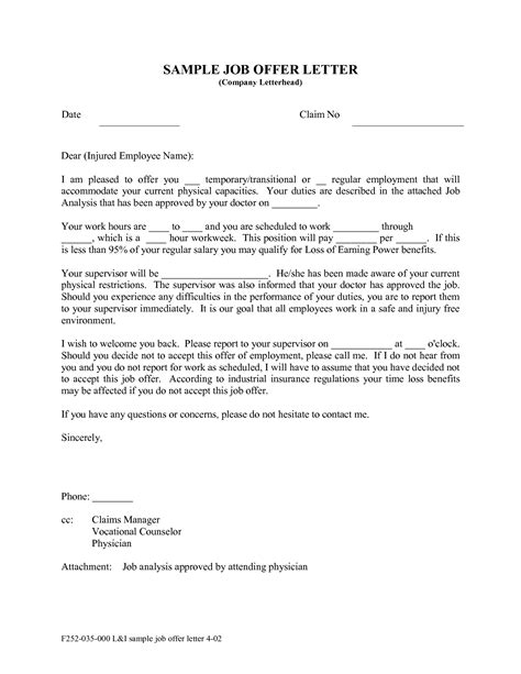 Offer Letter Format For Employee offer letter sle template resume builder