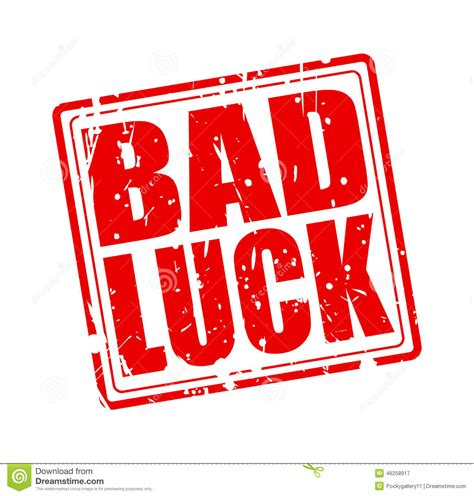 bad luck bad luck red st text stock vector image 46258917