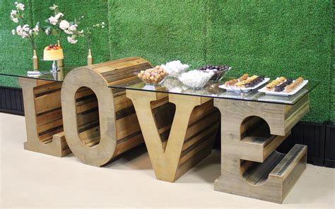 LOVE Table  Rustic Wood   Town & Country Event Rentals