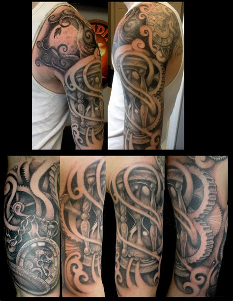 quarter sleeve tattoo length time half sleeve by jwheelwrighttattoos on deviantart