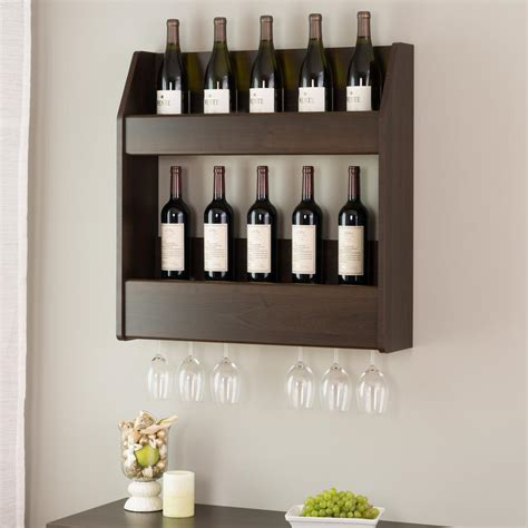 liquor wall rack prepac espresso 2 shelf composite wood floating wine and liquor rack esow 0202 1 the home depot