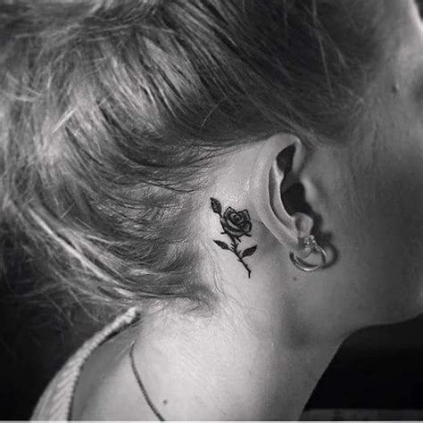 rose tattoos behind ear 40 inspiring tiny ear tattoos that make you say i need this