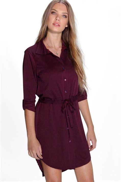Shirt Dress by Tie Waist Pocket Shirt Dress At Boohoo