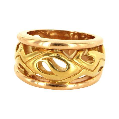 estate 18 karat yellow gold mens wide band cigar ring