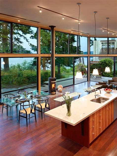 waterfront home kitchen design modern waterfront house with high glass walls modern