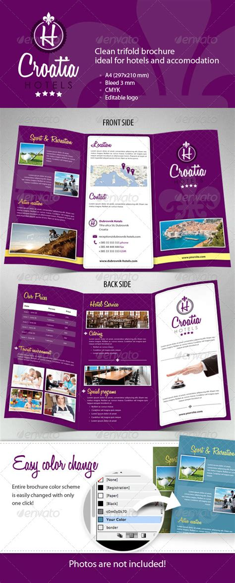 Hotel Brochure Template by Hotel Trifold Brochure By Msudar Graphicriver