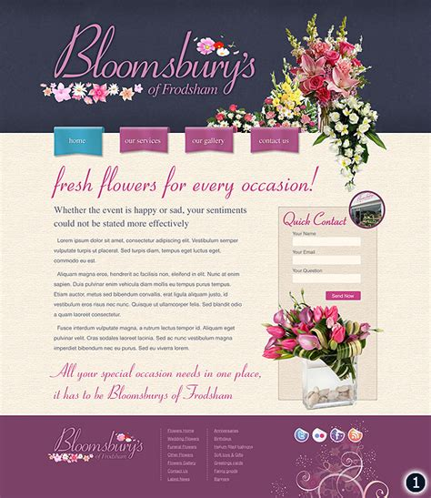 flower design website bloomsburys cheshire flower shop website design visuals