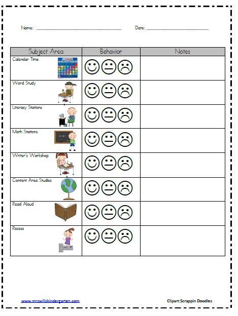 Behavior Modification Log by Classroom Behavior Mrs Wills Kindergarten