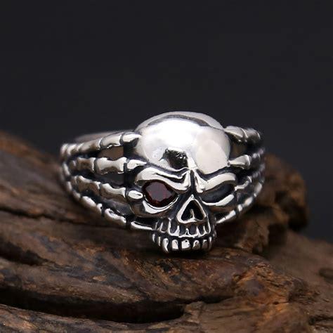 Handmade Skull Rings - 925 silver skull ring handmade sterling silver skull ring