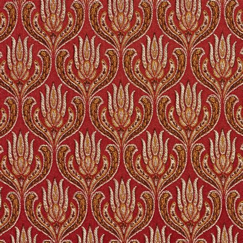 chinese upholstery fabric burgundy and red ornate oriental heirloom foliage brocade