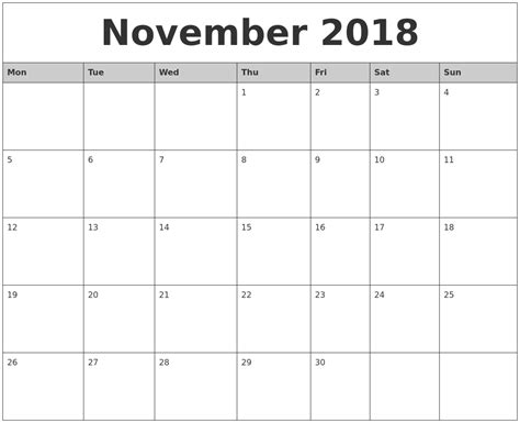 printable calendar november 2018 november 2018 monthly calendar printable