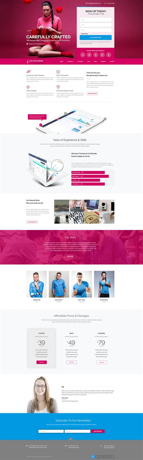 free landing page design templates for free download psd html product and services website landing page template free