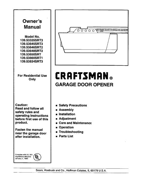 Craftsman Garage Door Opener 139 53646srt2 User Guide Overhead Door Manual