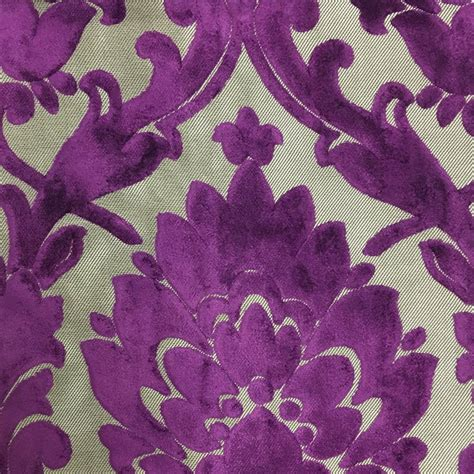 purple home decor fabric radcliffe lurex burnout velvet fabric damask pattern